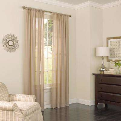 52 in. W x 108 in. L Chelsea UV Light Filtering Polyester Sheer Window Curtain Panel in Latte