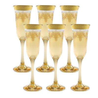 Amber Flutes with Gold Band (Set of 6)