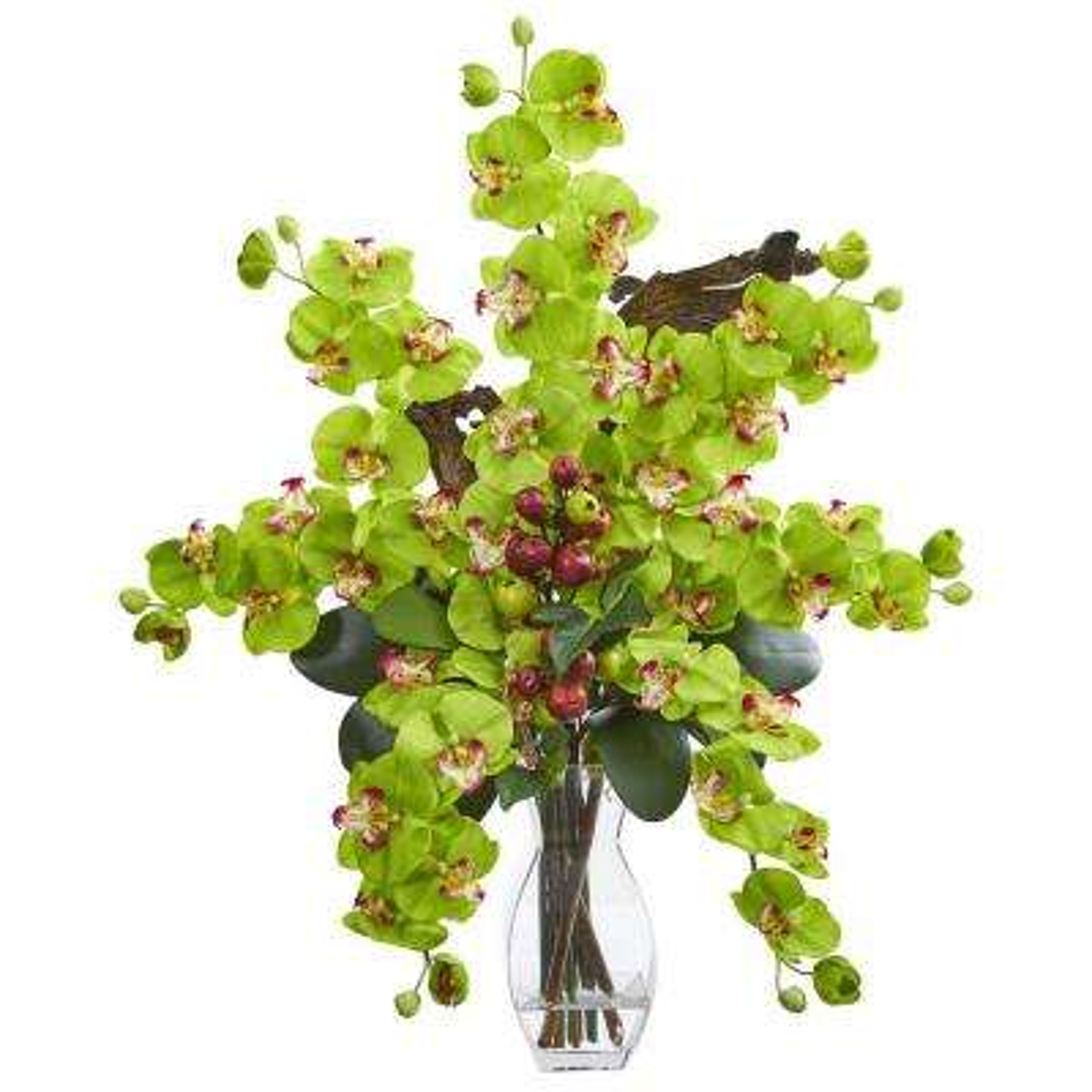 Indoor Phalaenopsis Orchid and Mini Apple Artificial Arrangement