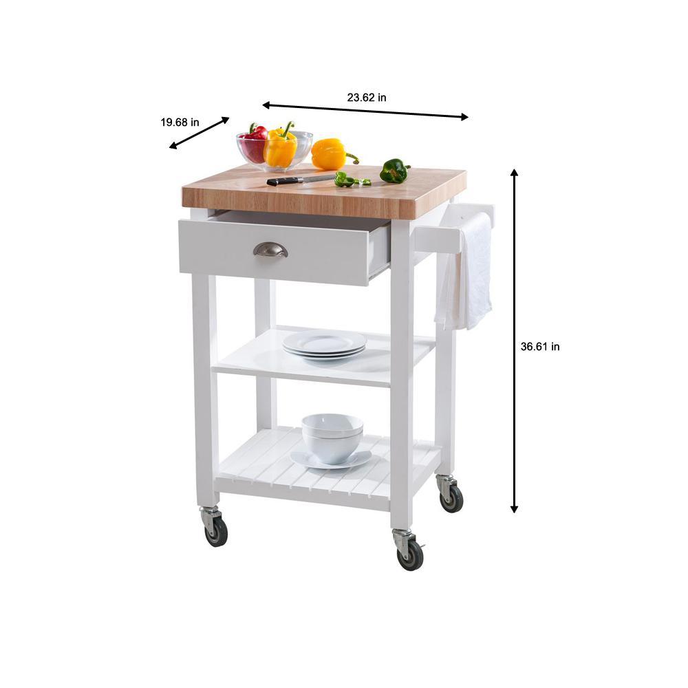 Hampton Bay Brookwood White Wood Kitchen Cart On Wheels With