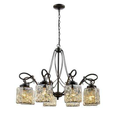 Moore 8-Light Antique Bronze Chandelier with Water Glass Shades