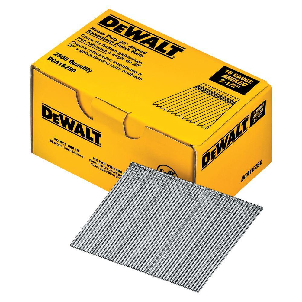 DEWALT 2 1/2 In. 16 Gauge Angled Finish Nails (2500  2 1 Degree