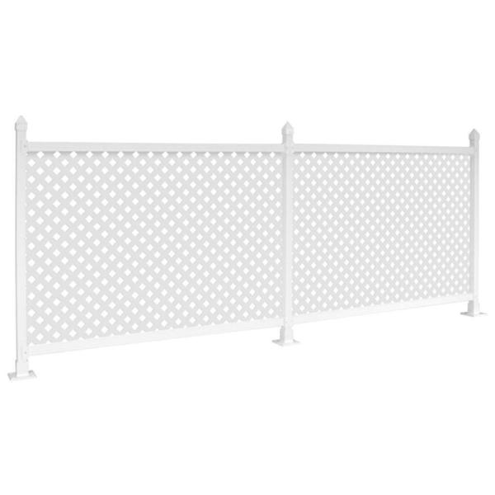 3 ft. x 24 ft. White Plastic Lattice Fence Panel Kit Hard Surface (Base Mounts)