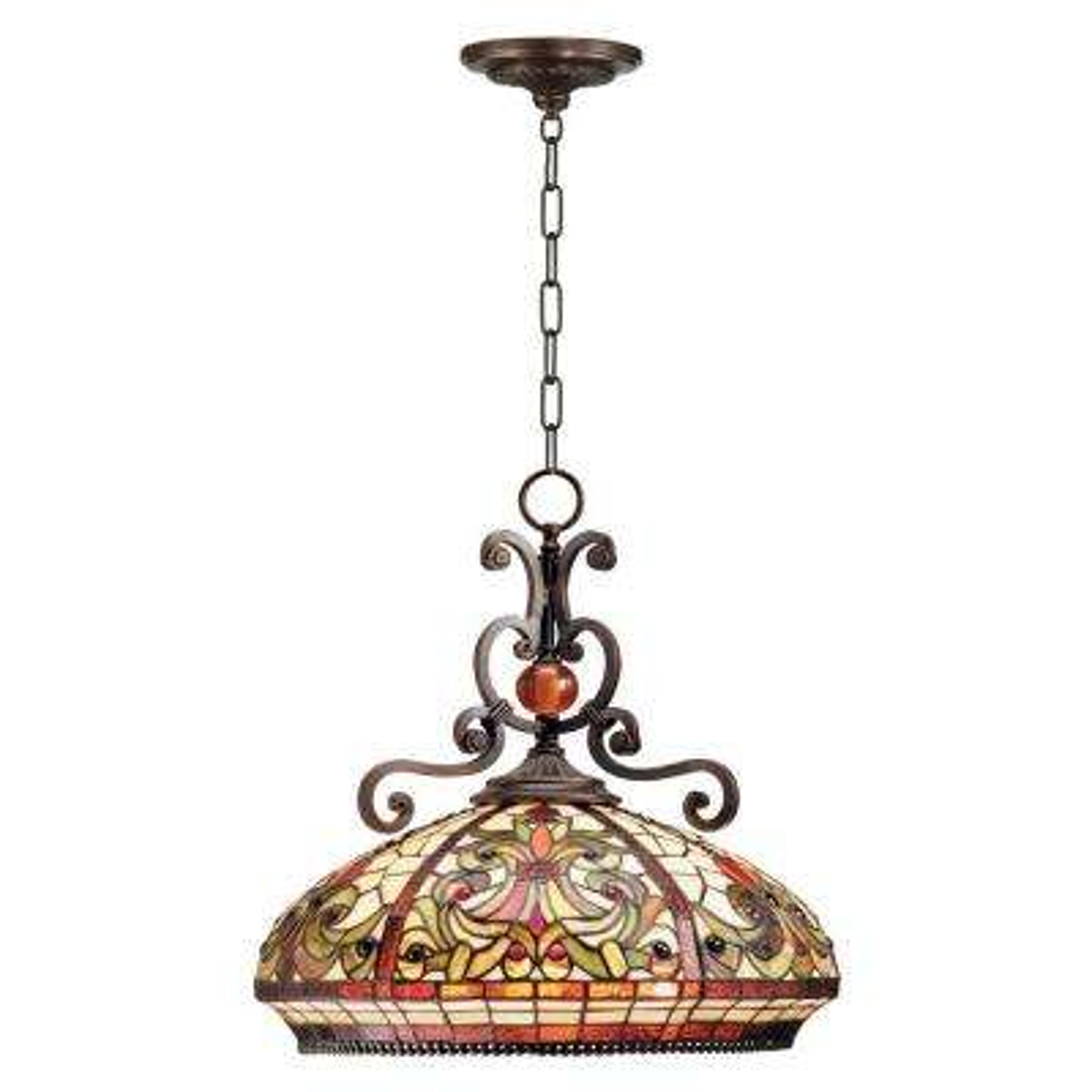 Boheme Tiffany 3-Light Antique Golden Stone Hanging Fixture