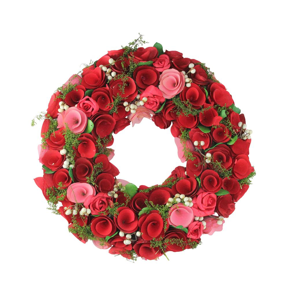 Northlight 12.5 in. Red and Pink Flowers with White Berries Artificial Floral Wreath