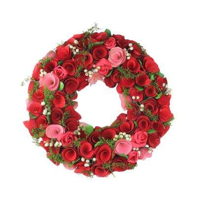 12.5 in. Red and Pink Flowers with White Berries Artificial Floral Wreath