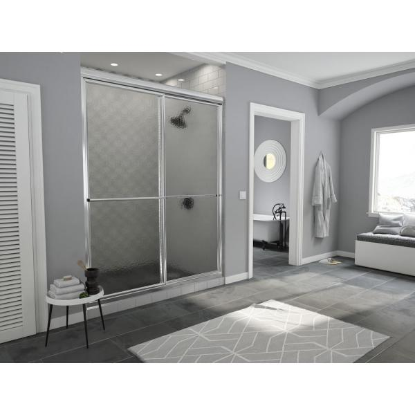 Newport 50 in. to 51.625 in. x 70 in. Framed Sliding Shower Door with Towel Bar in Chrome and Aquatex Glass