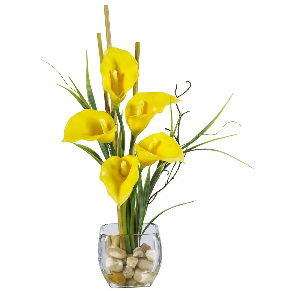 18 in. Calla Lilly Liquid Illusion Silk Flower Arrangement in Yellow