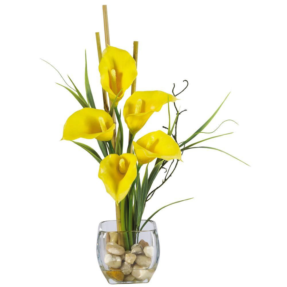 18 in. Calla Lilly Liquid Illusion Silk Flower Arrangement in Yellow