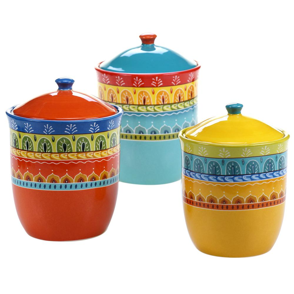 Certified International (3-piece) Valencia Earthenware Canister Set ...