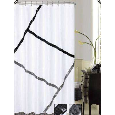 Florence 72 in. Black and White with Sequins Shower Curtain