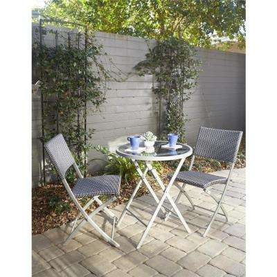 Delray Transitional 3-Piece Steel Blue & Gray Woven Wicker Dining Height Folding Patio Bistro Set