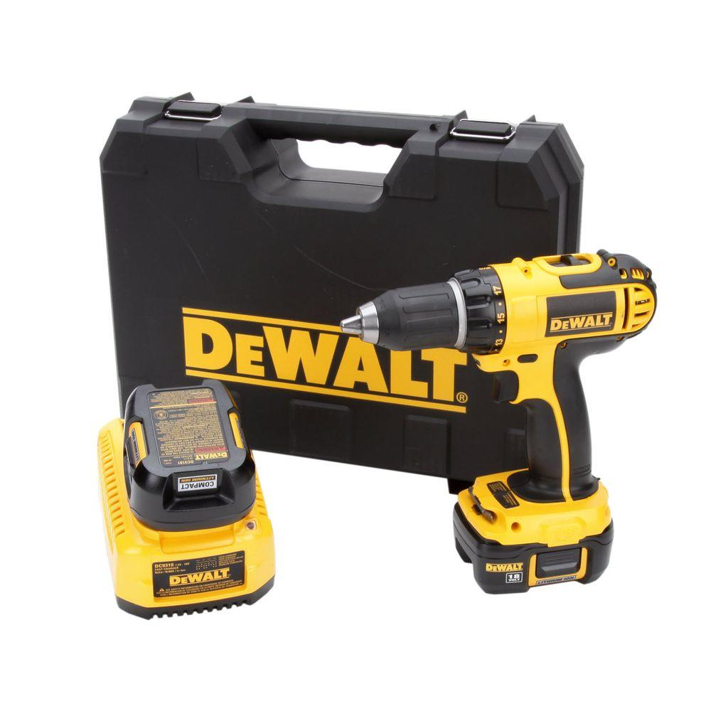 DEWALT 18-Volt Lithium-Ion Cordless 1/2 in. Compact Drill/Driver Kit with (2) Batteries 1.1.Ah, 30-Minute Charger and Case