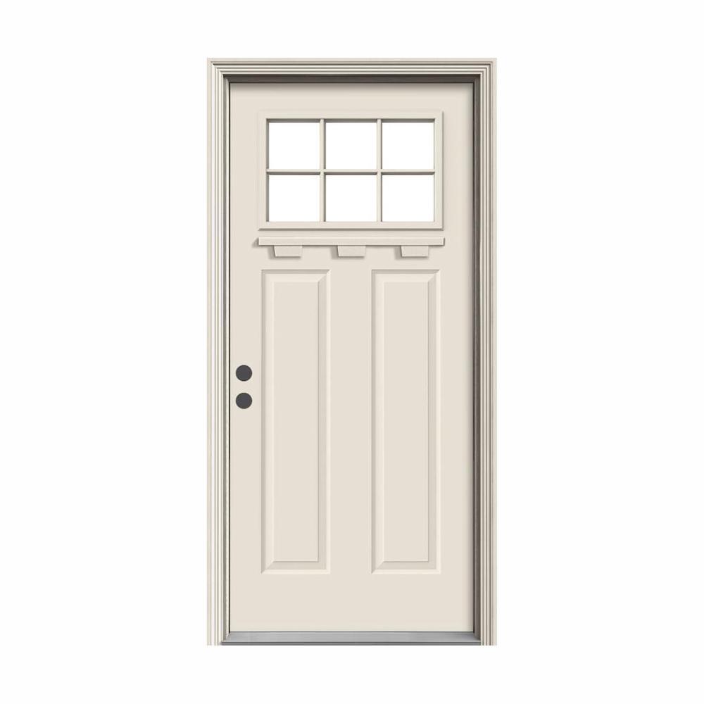 """ 36 in. x 80 in. 6 Lite Craftsman Primed Steel Prehung Right-Hand Inswing Front Door w/Brickmould and Shelf"""