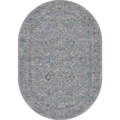 Ancient Garden Steel Blue/Cream 5 ft. x 8 ft. Oval Area Rug