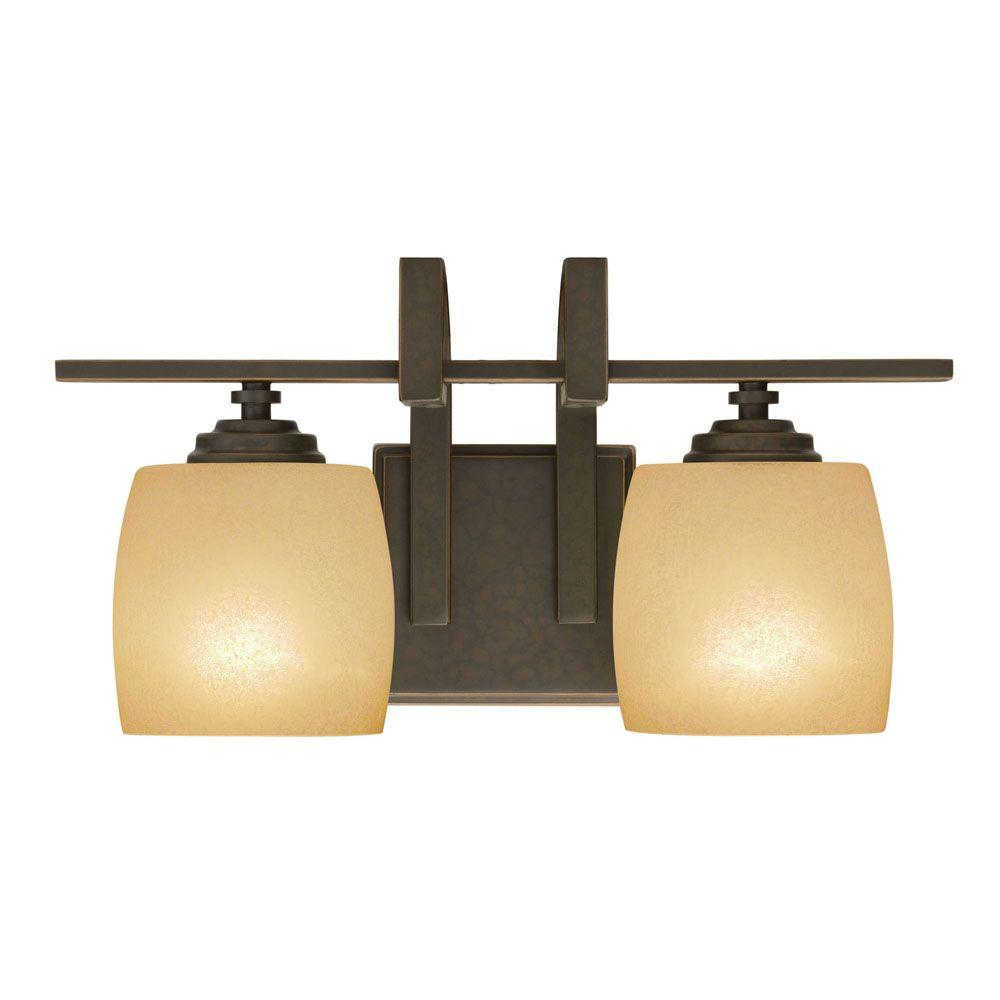Hampton Bay 2 Light Bronze Vanity Light With Scavo Glass Shade 25106 The Home Depot