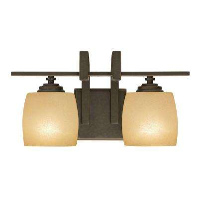 2-Light Bronze Vanity Light with Scavo Glass Shade