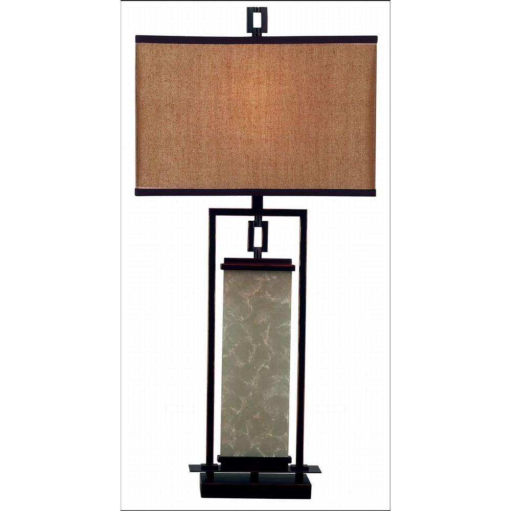Kenroy home plateau 32 in oil rubbed bronze and glass table lamp oil rubbed bronze and glass table lamp geotapseo Gallery