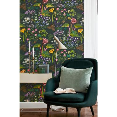 57.4 sq. ft. Rabarber Charcoal Floral Wallpaper