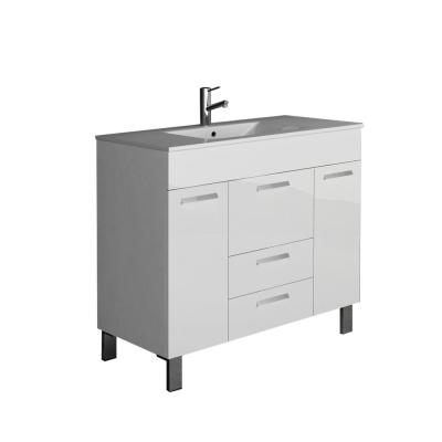Venus 36 in. W x 18 in. D x 34 in. H Vanity in White with Porcelain Top in White with White Basin