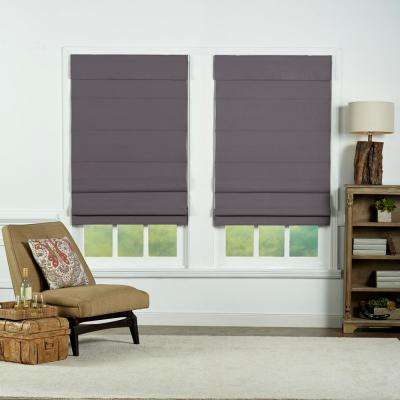 Gray Insulating Cordless Cotton Roman Shade - 42 in. W x 72 in. L