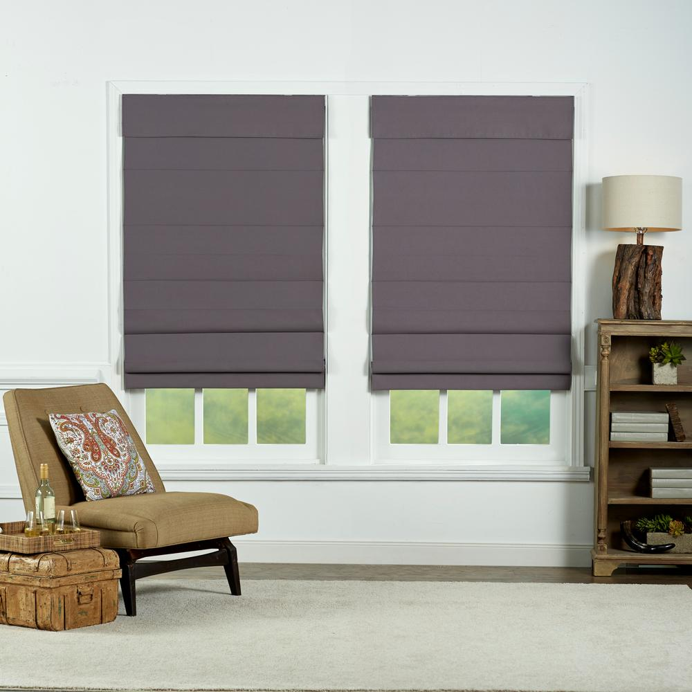 Perfect Lift Window Treatment Gray Cordless Blackout Energy-Efficient Cotton Roman Shades 72 in. W x 72 in. L