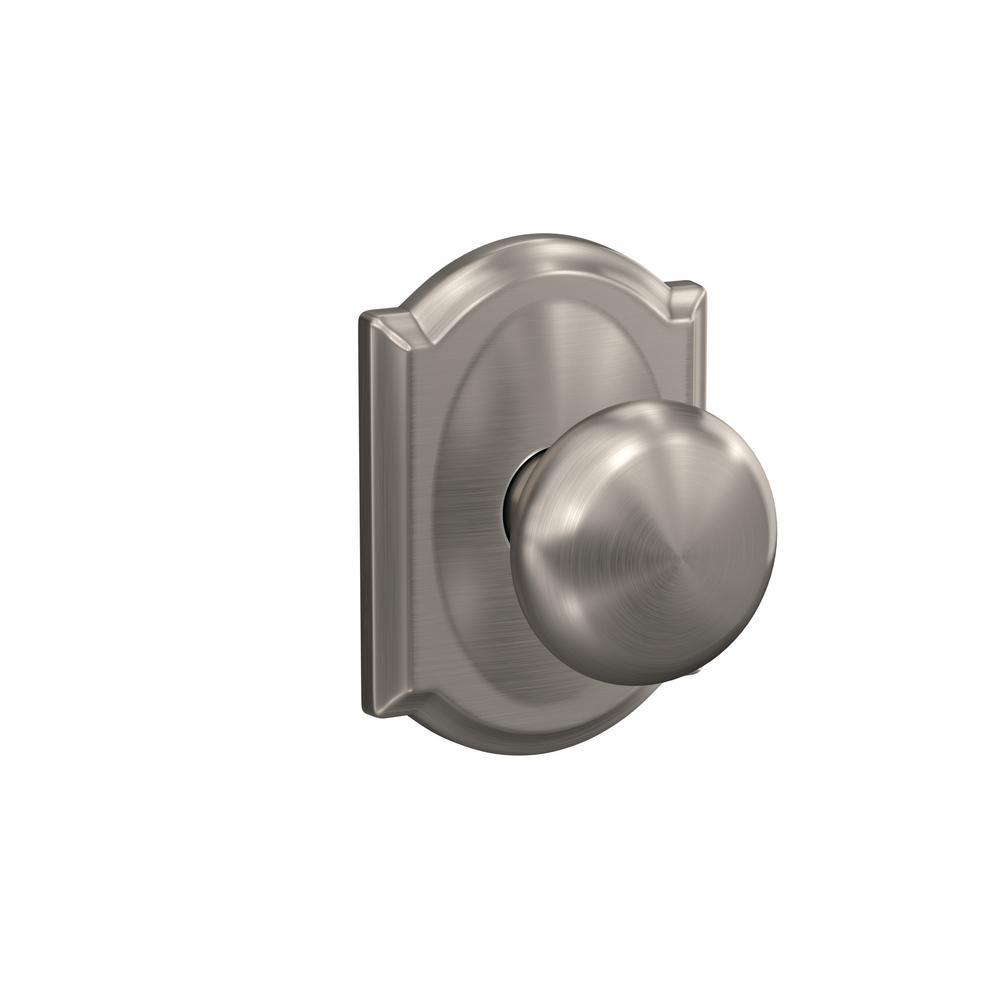 Custom Plymouth Satin Nickel Camelot Trim Dummy  Door Knob (2-pack)