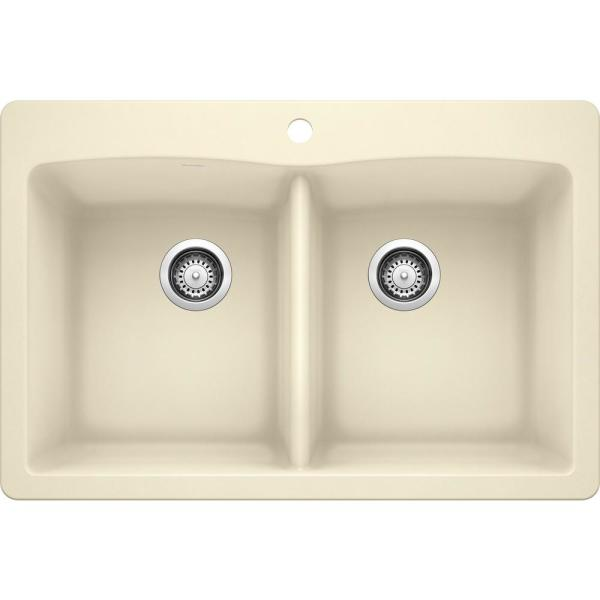 DIAMOND Dual Mount Granite Composite 33 in. 1-Hole 50/50 Double Bowl Kitchen Sink in Biscuit