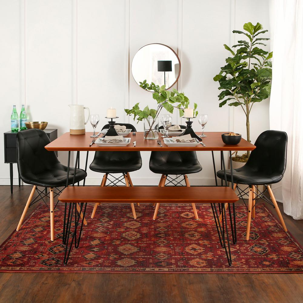 Contemporary Mid Century Modern Square Hairpin 6 Piece Dining Set W Eames Chairs Walnut Black