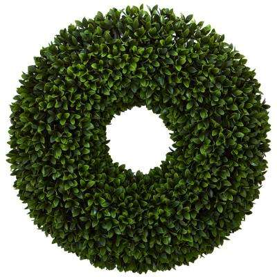 24 in. Indoor Boxwood Artificial Wreath