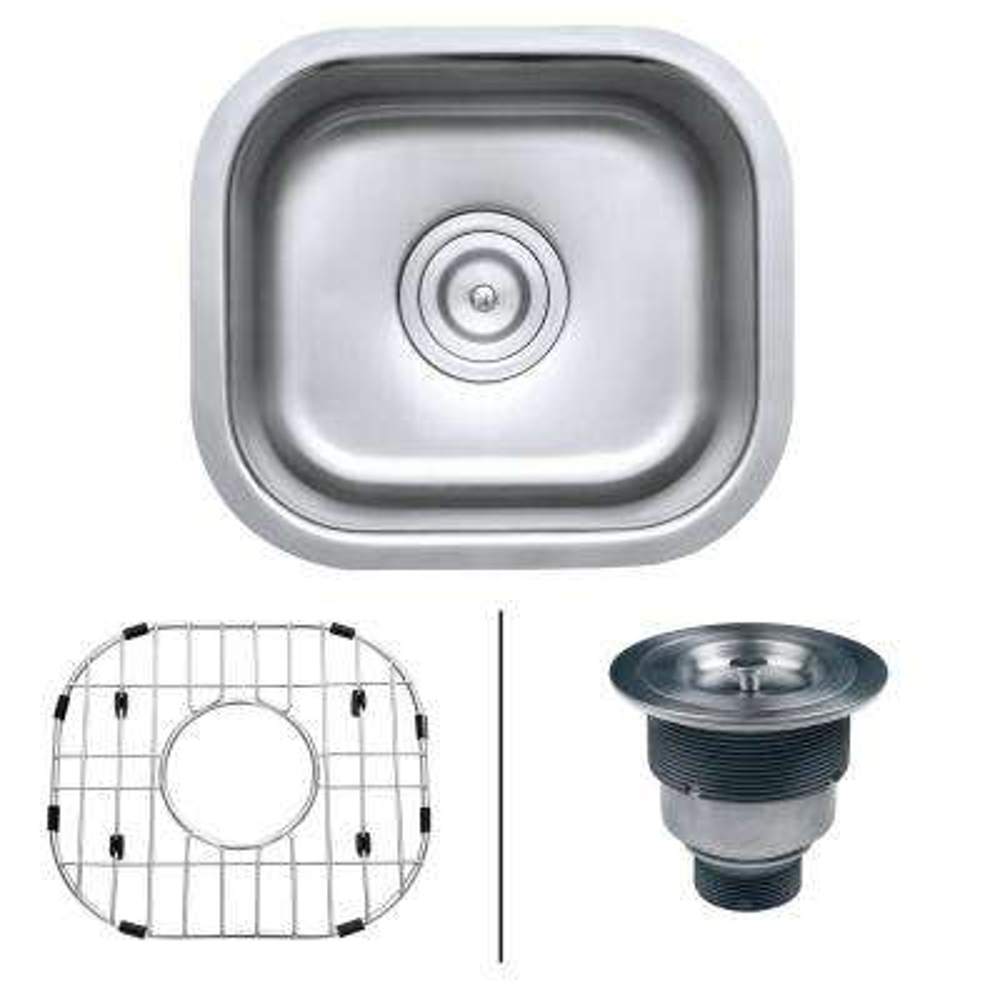 13 in. x 15 in. Single Bowl Undermount 16-Gauge Stainless Steel Bar Prep Kitchen Sink