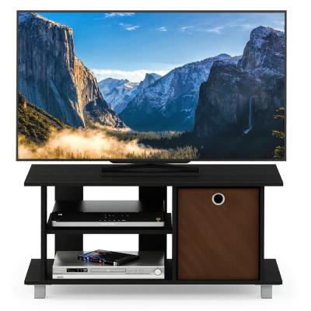 Simplistic Americano/Medium Brown TV Entertainment Center with Bin Drawer