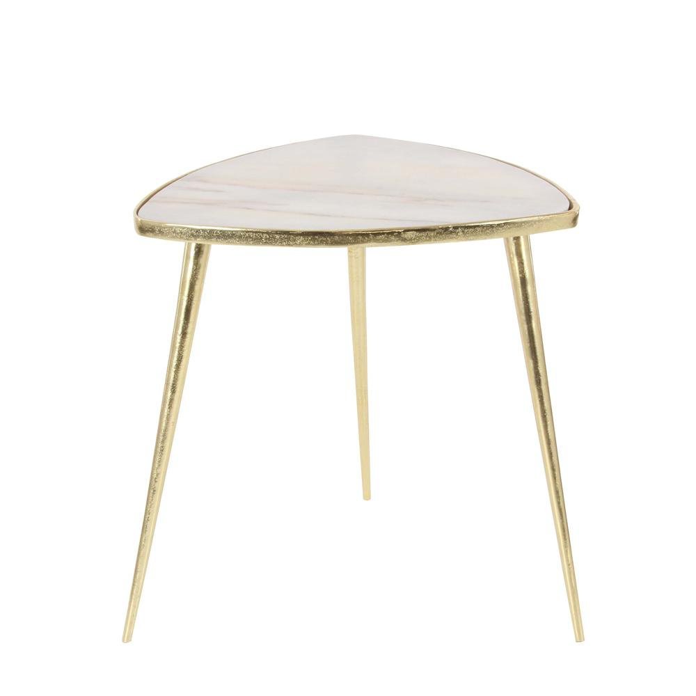 Litton Lane Classic Marble Accent Table In Gold And White 53459