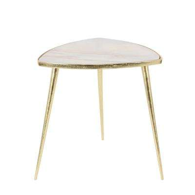 Classic Marble Accent Table in Gold and White