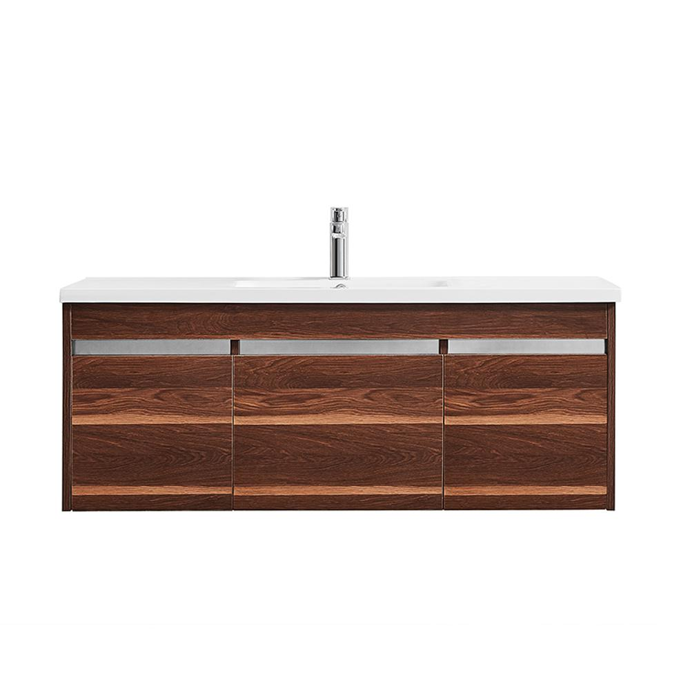 Vinnova Thomas 48 in. W x 18 in. D Bath Vanity in Walnut with Quartz Vanity Top in White with White Basin