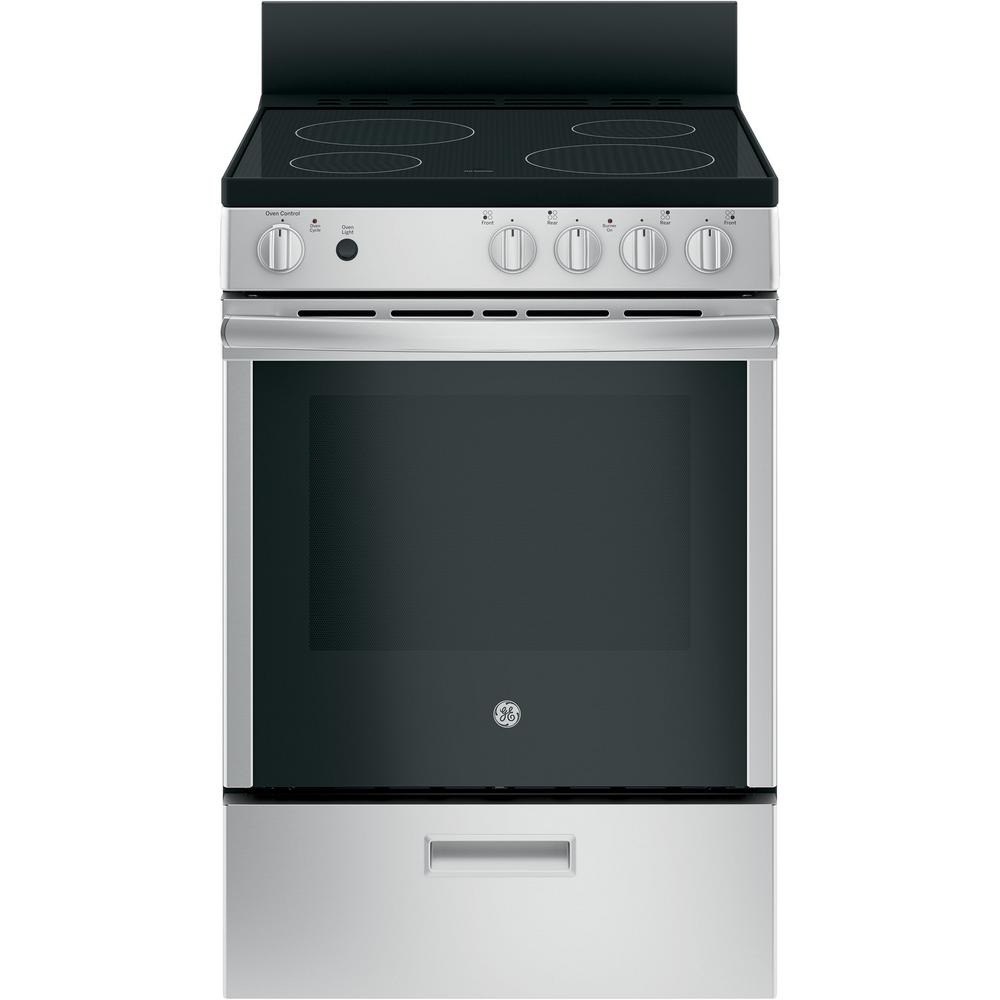 Ge 24 In 2 9 Cu Ft Electric Range With Steam Cleaning Oven In Stainless Steel Jas640rmss The Home Depot