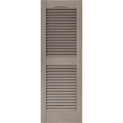 15 in. x 43 in. Louvered Vinyl Exterior Shutters Pair in #008 Clay