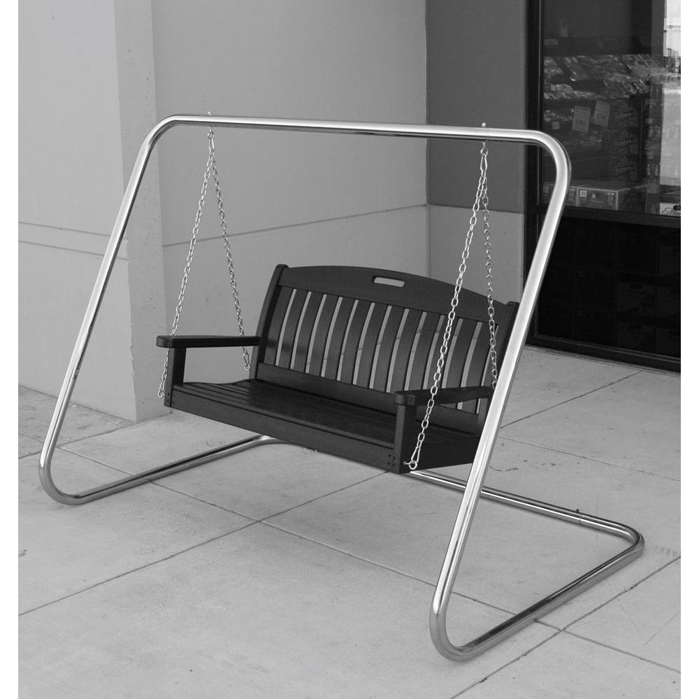 Marvelous Polywood Nautical 48 In Slate Grey Plastic Outdoor Porch Swing Inzonedesignstudio Interior Chair Design Inzonedesignstudiocom