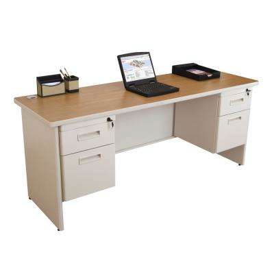 72 in. W x 24 in. D Oak Laminate and Putty  Double Pedestal Credenza