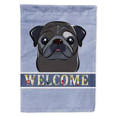 11 in. x 15-1/2 in. Polyester Black Pug Welcome 2-Sided 2-Ply Garden Flag