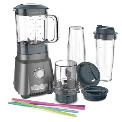 32 oz. 3-Speed Brushed Chrome with Travel Cups Countertop Blender