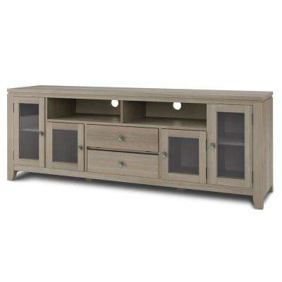 City Solid Wood Distressed Grey for TVs up to 80-72 in. Wide Contemporary TV Media Stand