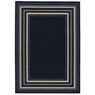 Border Navy and Blue 8 ft. x 11 ft. Indoor/Outdoor Area Rug
