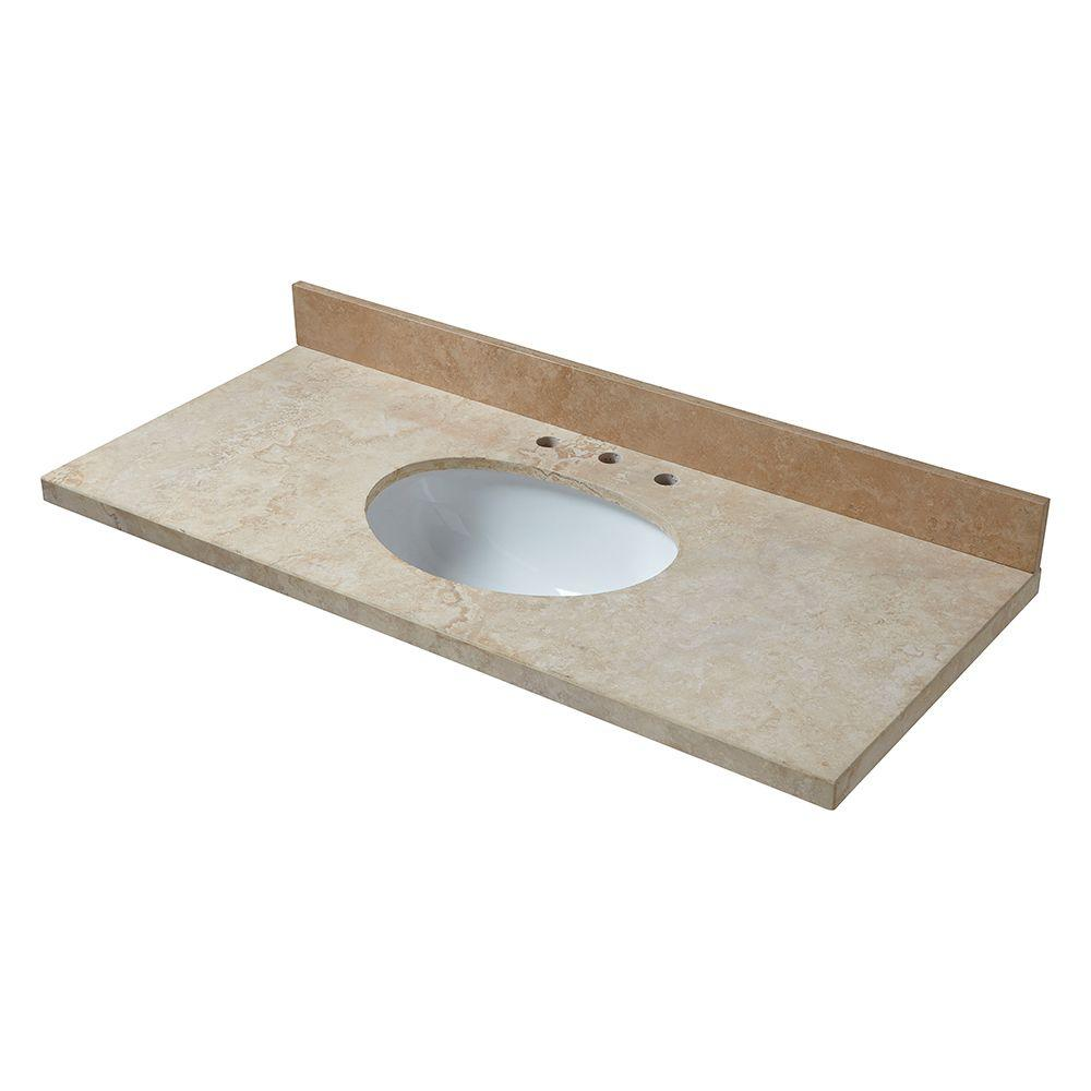 Pegasus 49 in. Travertine Vanity Top in Ivory Select with White Basin