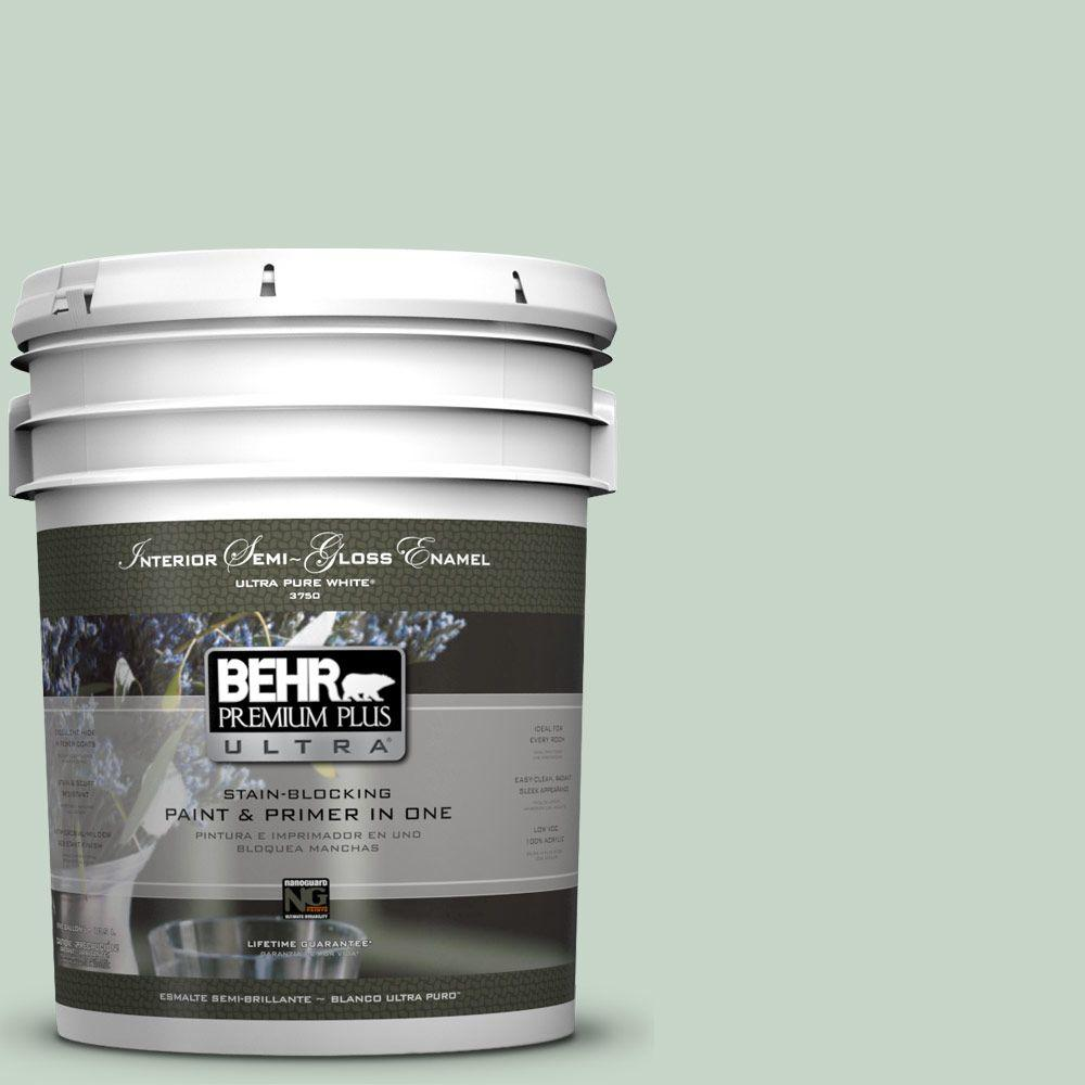 BEHR Premium Plus Ultra 5-gal. #S410-2 New Moss Semi-Gloss Enamel Interior Paint