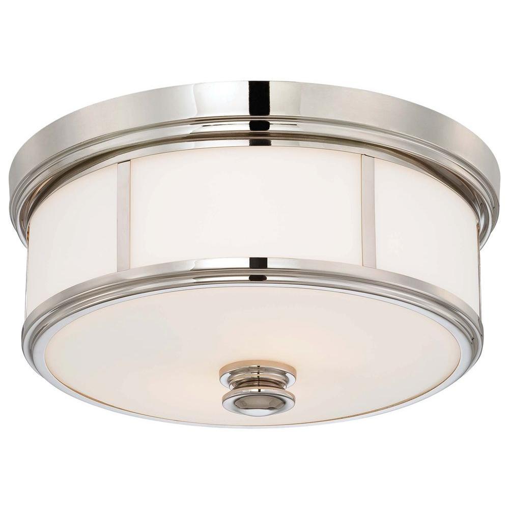 2-Light Polished Nickel Flushmount