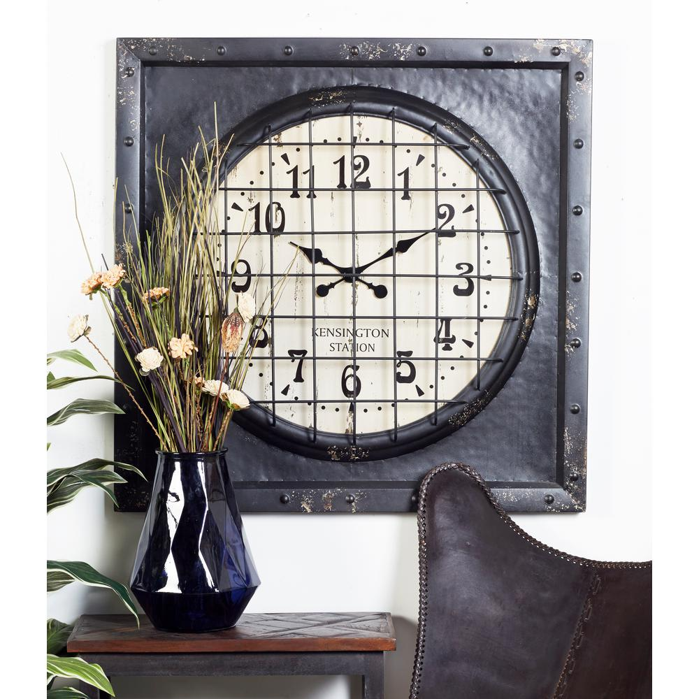 Litton Lane Black And White Vintage Kensington Station Square Framed Wall Clock