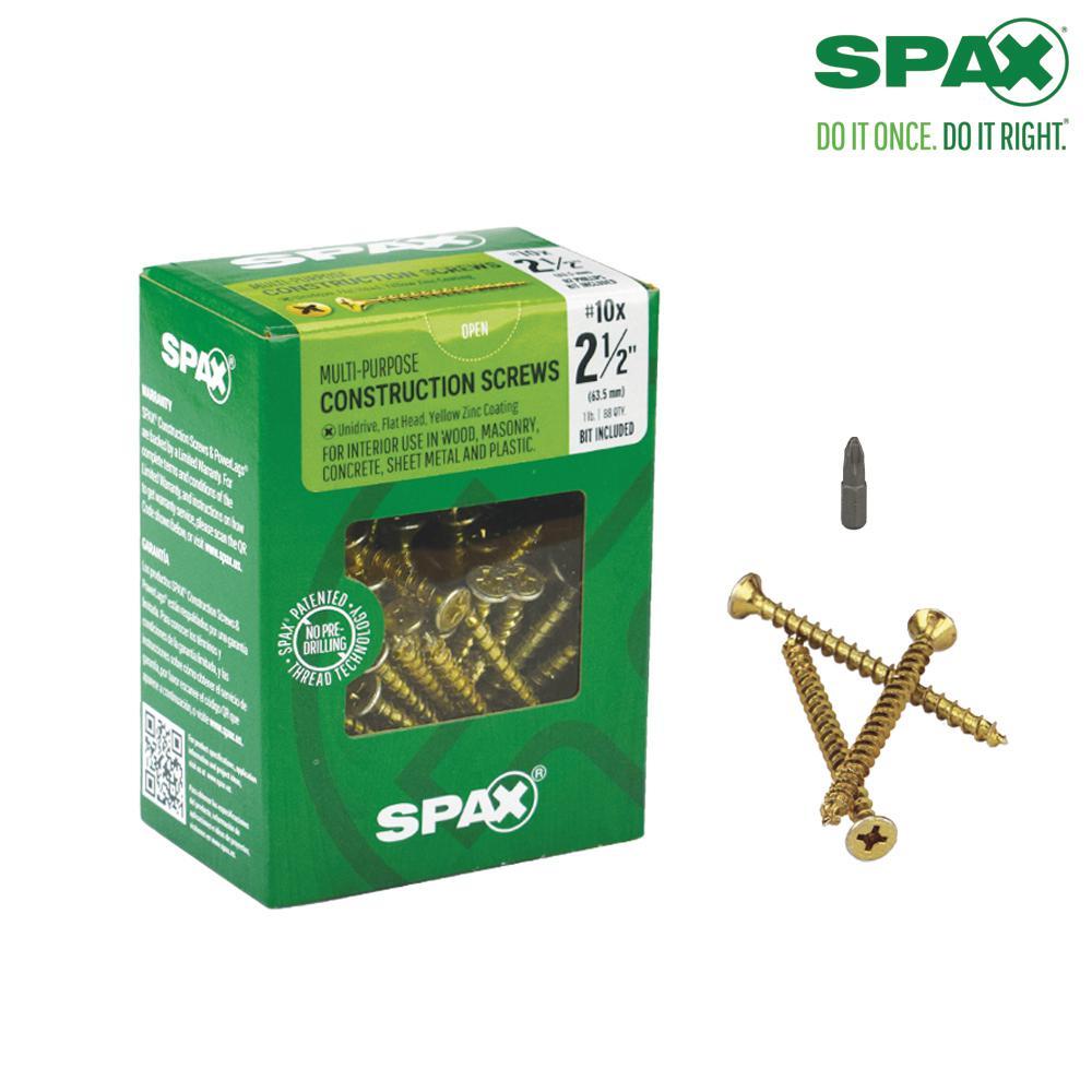 #10 x 2-1/2 in. Phillips Square Drive Flat-Head Full Thread Yellow Zinc Coated Multi-Material Screw (88 per Box)
