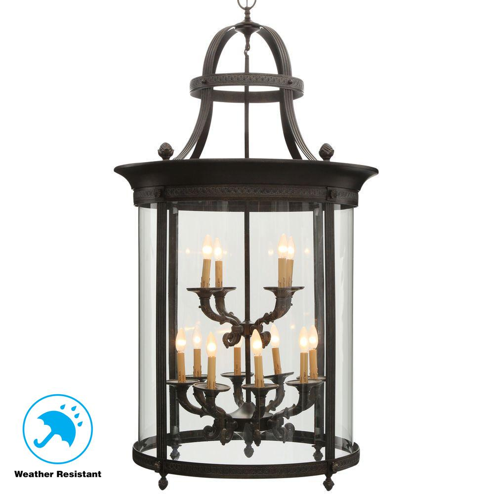 Chatham Collection 12 Light French Bronze Outdoor Hanging Mount Country Influence Foyer Lantern