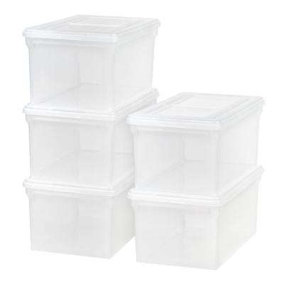 44 Qt. Split-Lid Letter Size File Storage Box in Clear (5-Pack)